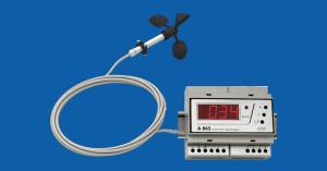 A-ster A-043 Anemometr sygnalizujący, komplet składający się z modułu pomiarowego IP20 montowanego na szynę, wraz z czujnikiem