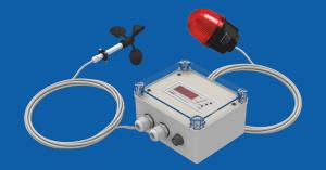 A-ster A-043-HA1 Anemometr sygnalizujący, komplet składający się z modułu pomiarowego w obudowie bryzgoszczelnej IP66 + czujnik z kablem 10m, z czerwoną zewnętrzną ksenonową lampą alarmową.