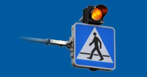 D-6 – aktywny znak, podświetlany z oświetleniem przejścia dla pieszych