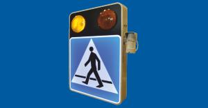 D-6 – oznakowanie aktywne przejścia dla pieszych ze sterowaniem oświetleniem ulicznym i czujnikami obecności pieszego